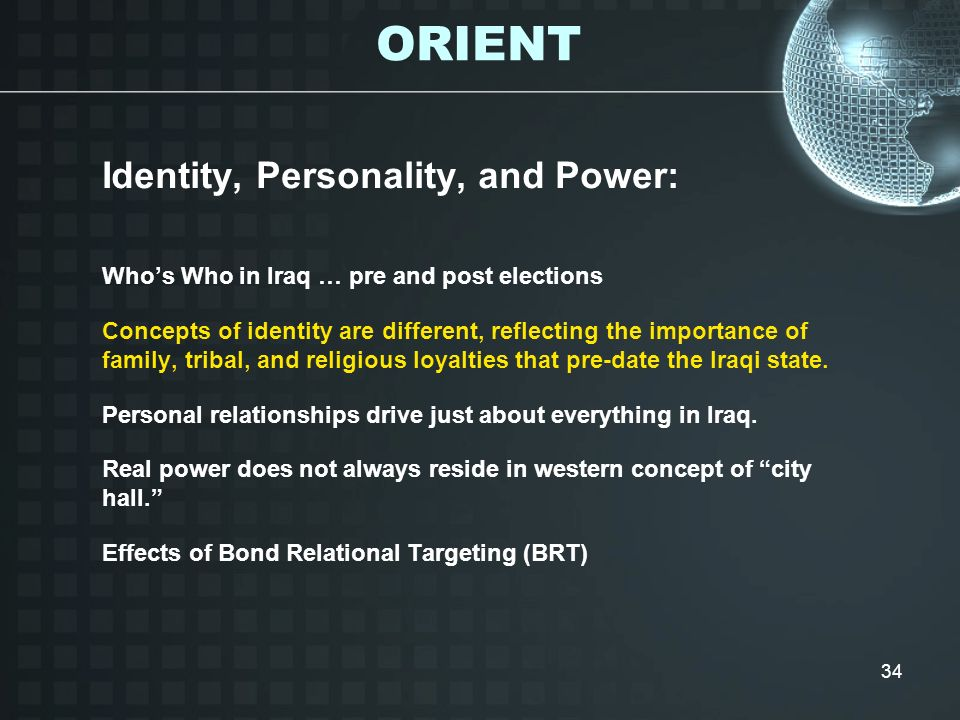 ORIENT Identity, Personality, and Power:
