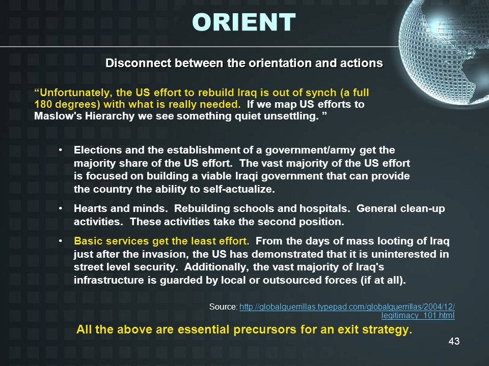 ORIENT Disconnect between the orientation and actions