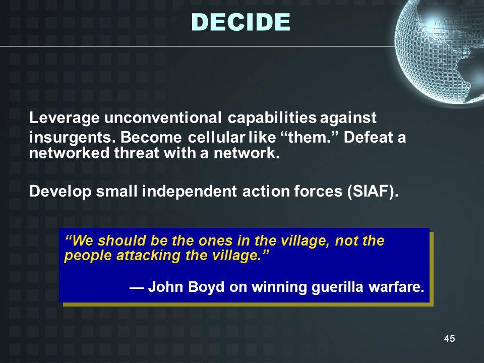 DECIDE Leverage unconventional capabilities against
