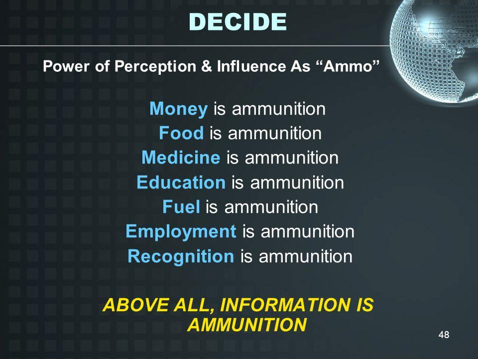 DECIDE Money is ammunition Food is ammunition Medicine is ammunition
