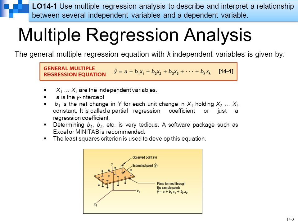 multiple regression analysis Linear regression analysis linear regression isageneral methodforestimating/describingassociation betweenacontinuous outcomevariable multiple linear regression.