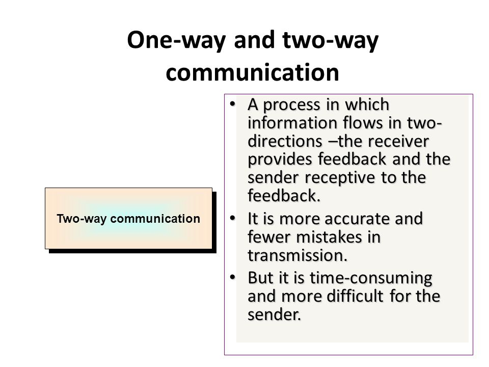 communication is a two way process Models of communication shannon and weaver's model of this model has added feedback, indicating that communication is not a one way but a two way process.