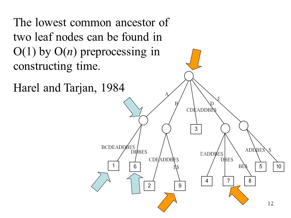 The lowest common ancestor of two leaf nodes can be found in O(1) by O(n) preprocessing in constructing time.
