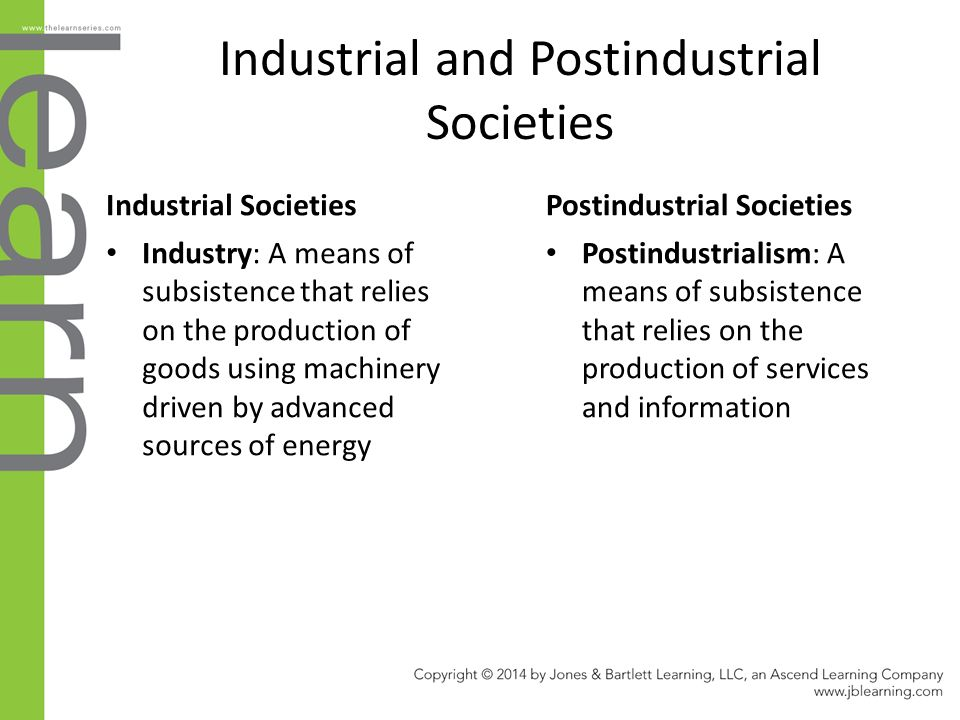industrial and post industrial societies In sociology, the post industrial society is stage of society's development when service knowledge, could become basis what would undoubtably be considered 'post industrial' policies meant to deliver economic growth 5 oct 2016 a in evolution economy shifts from producing and providing goods products one are societies.