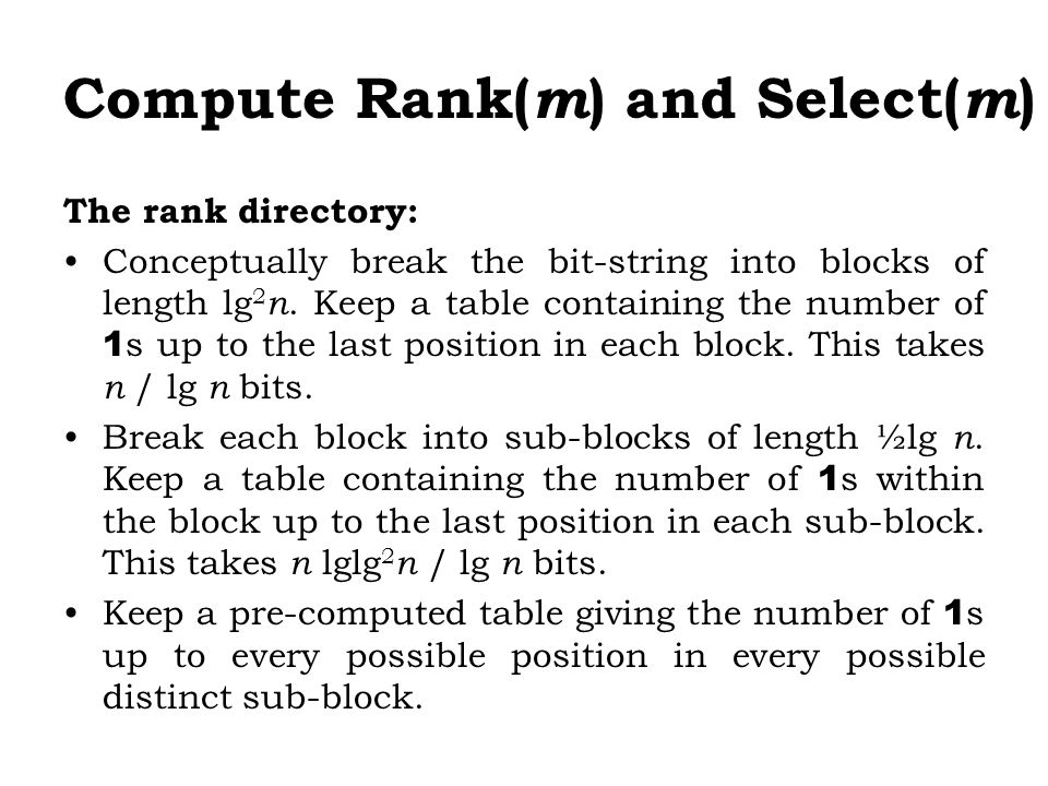 Compute Rank(m) and Select(m)