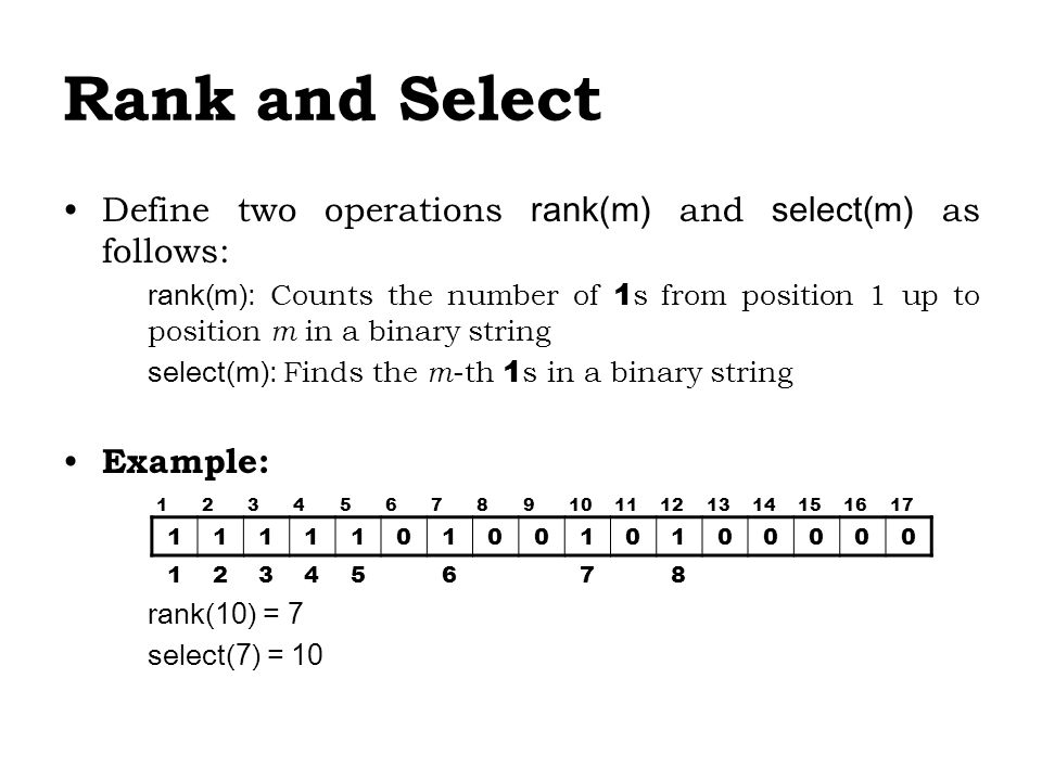 Rank and Select Define two operations rank(m) and select(m) as follows: