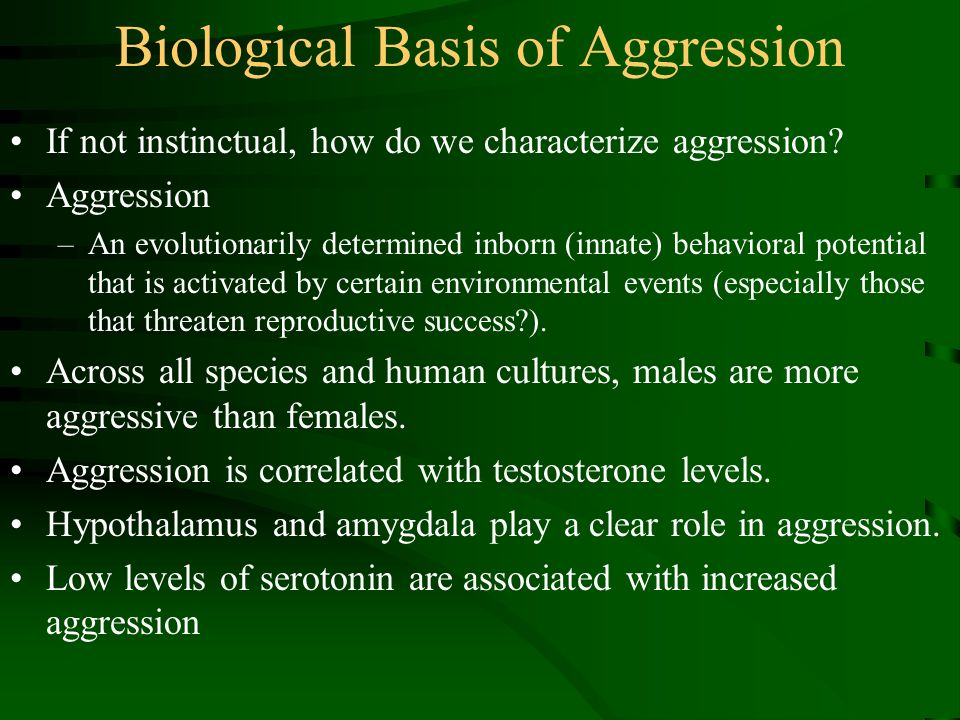 aggression innate or inborn Individuals' level of aggression is innate, but somewhat modulated by socialisation posted december 29, 2017 as with most personality traits, aggression has been demonstrated to be partly heritable.