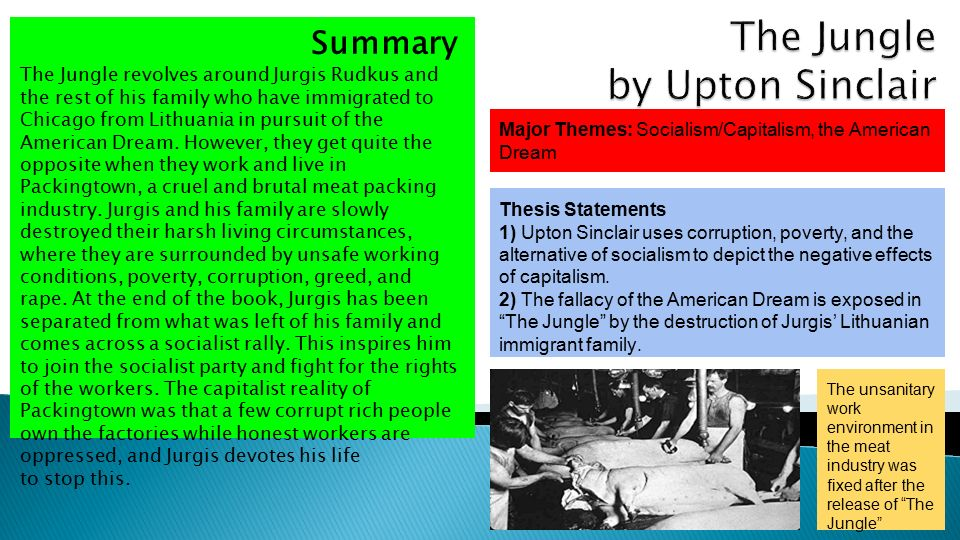 the socialism of upton sinclair in his novel the jungle Upton sinclair's the jungle failed to american socialist party upton sinclair had his main point of the novel the jungle was to.
