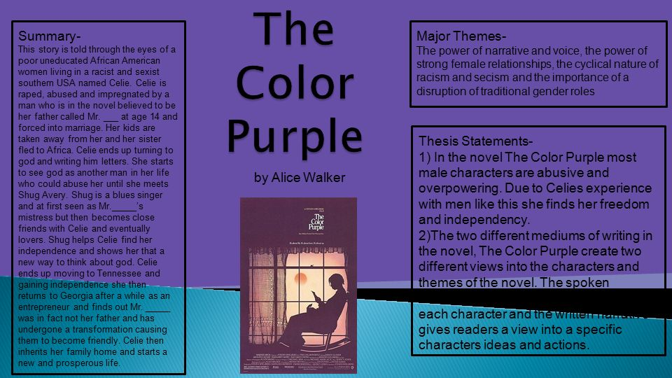 thesis statements for the color purple Topic outline thesis statement: in the color purple, celie being a young african-american woman never is able to have the what is the theme of the color purplei have to write a paper and i have to write a paper and give a presentation on the theme/thesis of the color purple 39 and find homework help for other the color purple questions.