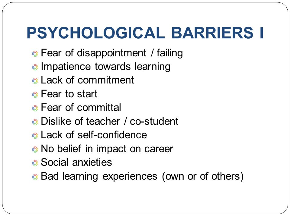 notes on psychological barriers to participation Other psychological barriers which emerged include low no other rapid evidence assessment exist in the area of barriers to physical activity in obese adults (2006) sport, exercise and physical activity: public participation, barriers and attitudes available at: wwwscotlandgovuk.