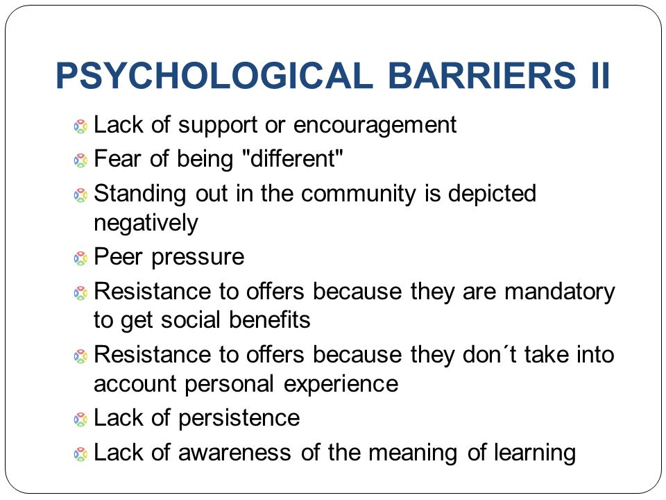notes on psychological barriers to participation Leisure and activity – needs and demands, barriers to participation, the future chrismclaughlin articles , documents january 13, 2015 december 6, 2015 6 minutes in 21 st century society, leisure activities have become major economic resources for nations worldwide.