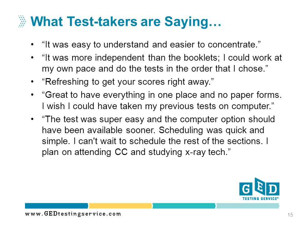 What Test-takers are Saying…
