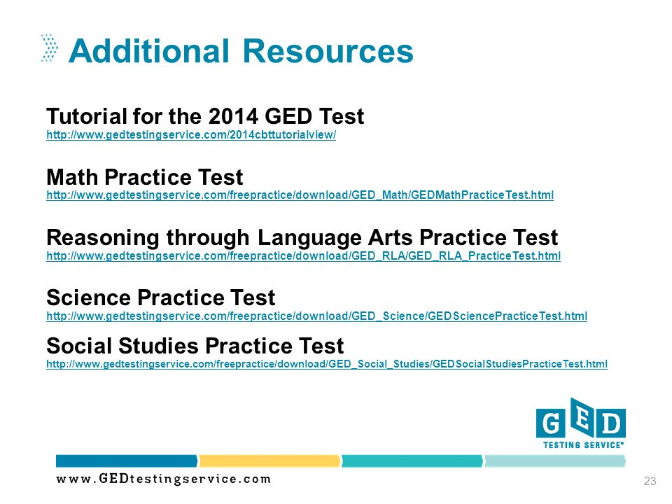Additional Resources Tutorial for the 2014 GED Test Math Practice Test