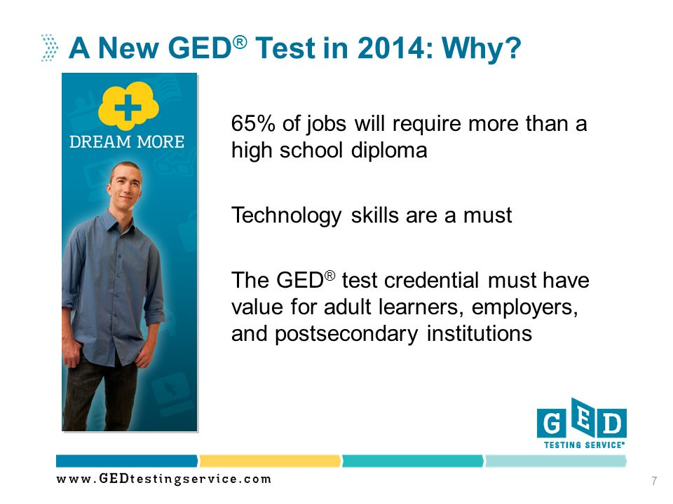 A New GED® Test in 2014: Why 65% of jobs will require more than a high school diploma. Technology skills are a must.