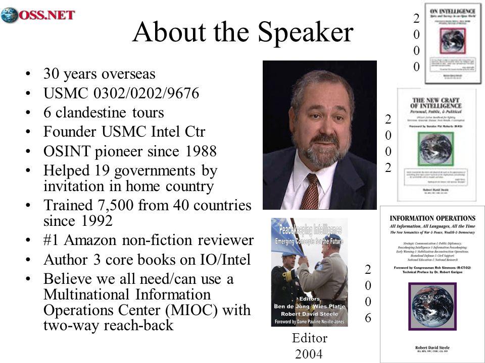 About the Speaker 30 years overseas USMC 0302/0202/9676