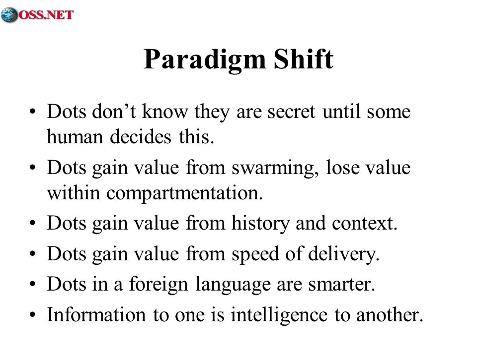 Paradigm Shift Dots don't know they are secret until some human decides this. Dots gain value from swarming, lose value within compartmentation.