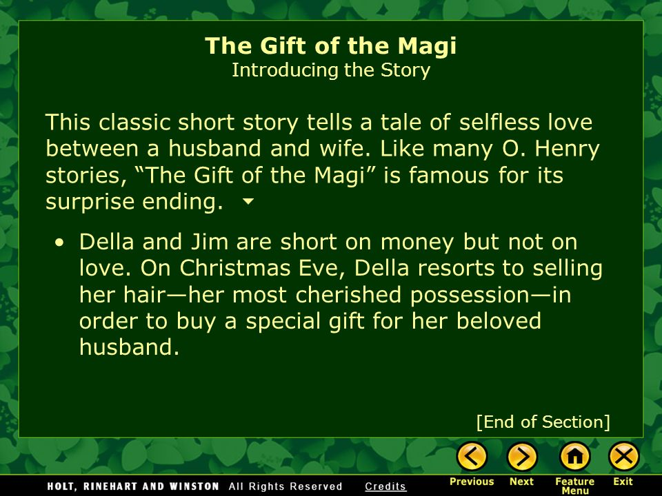 the gift of the magi by o henry ppt video online  the gift of the magi introducing the story