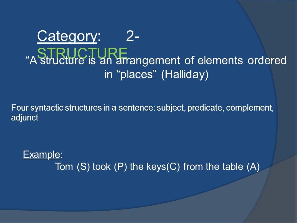 Category: 2- STRUCTURE A structure is an arrangement of elements ordered in places (Halliday)
