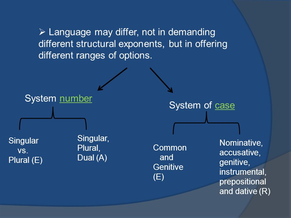 Language may differ, not in demanding different structural exponents, but in offering different ranges of options.