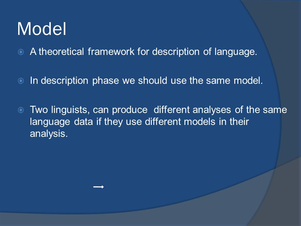Model A theoretical framework for description of language.
