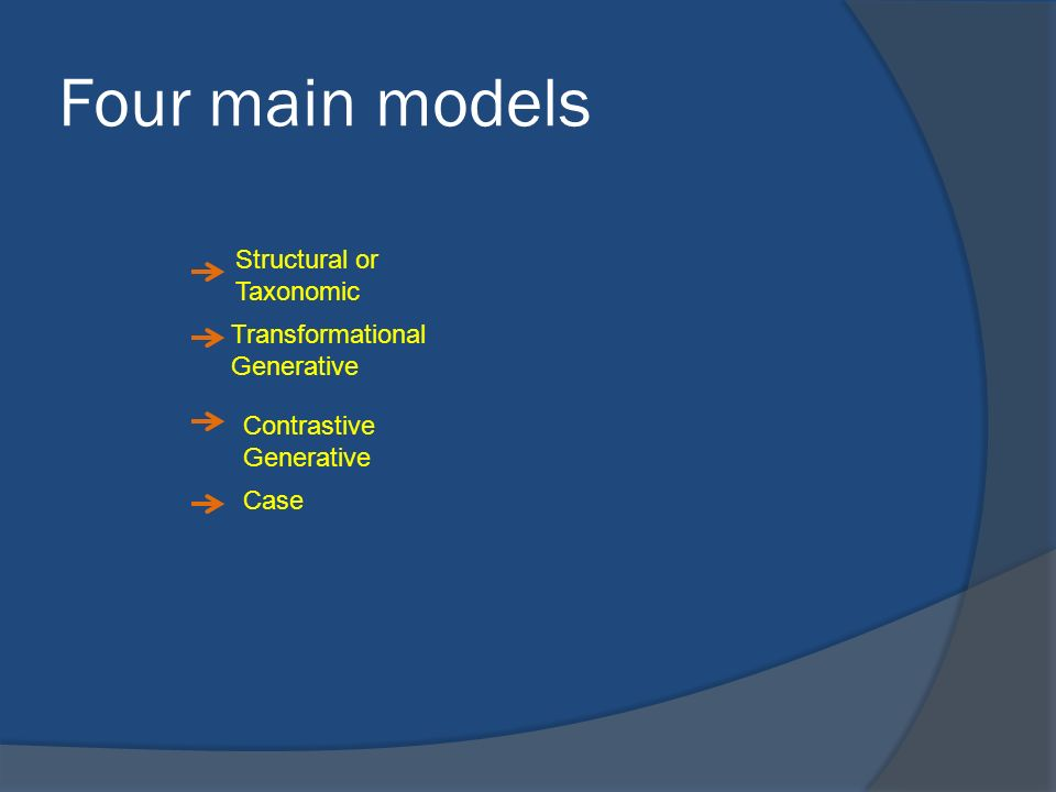 Four main models Structural or Taxonomic Transformational Generative