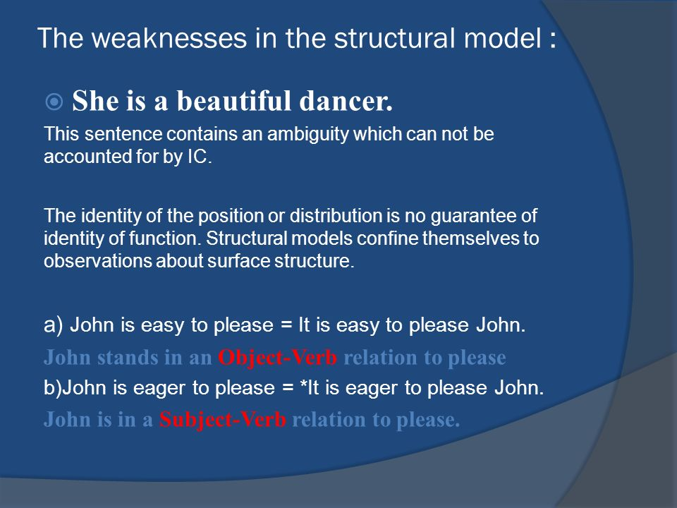 The weaknesses in the structural model :