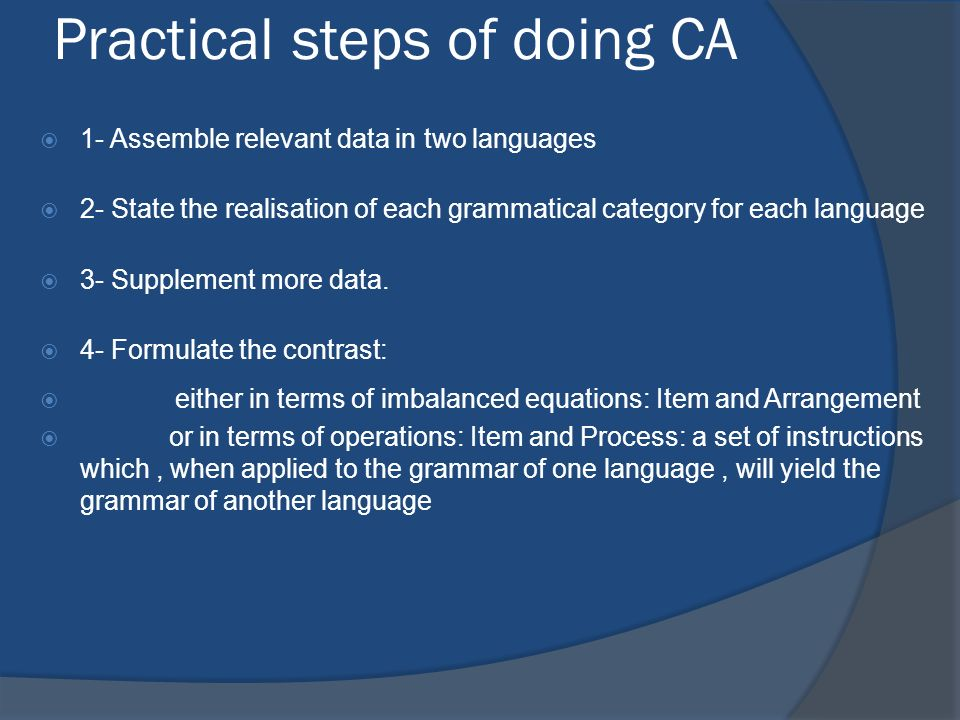 Practical steps of doing CA