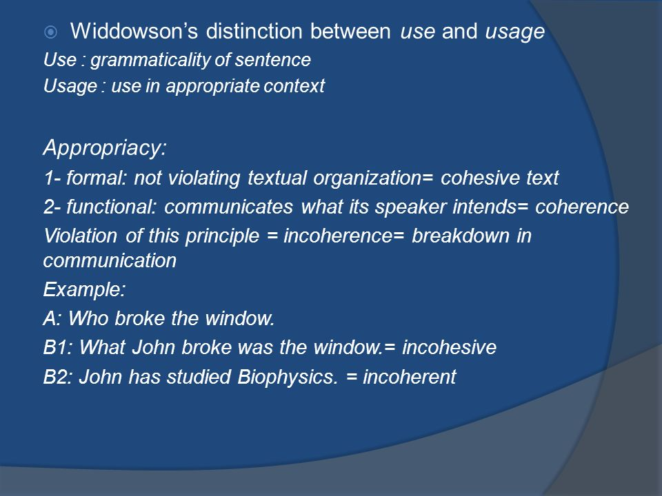 Widdowson's distinction between use and usage