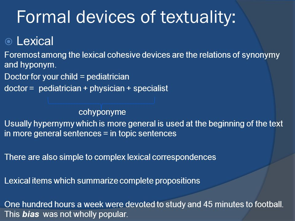 Formal devices of textuality: