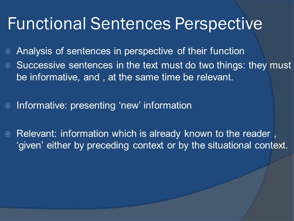 Functional Sentences Perspective