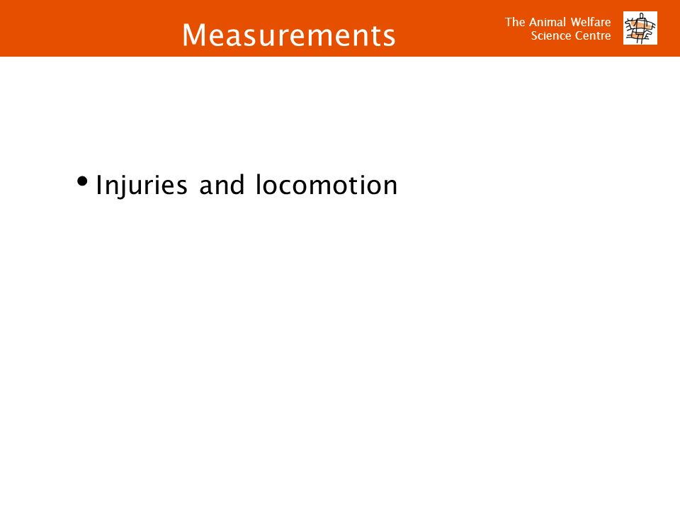 Measurements Injuries and locomotion