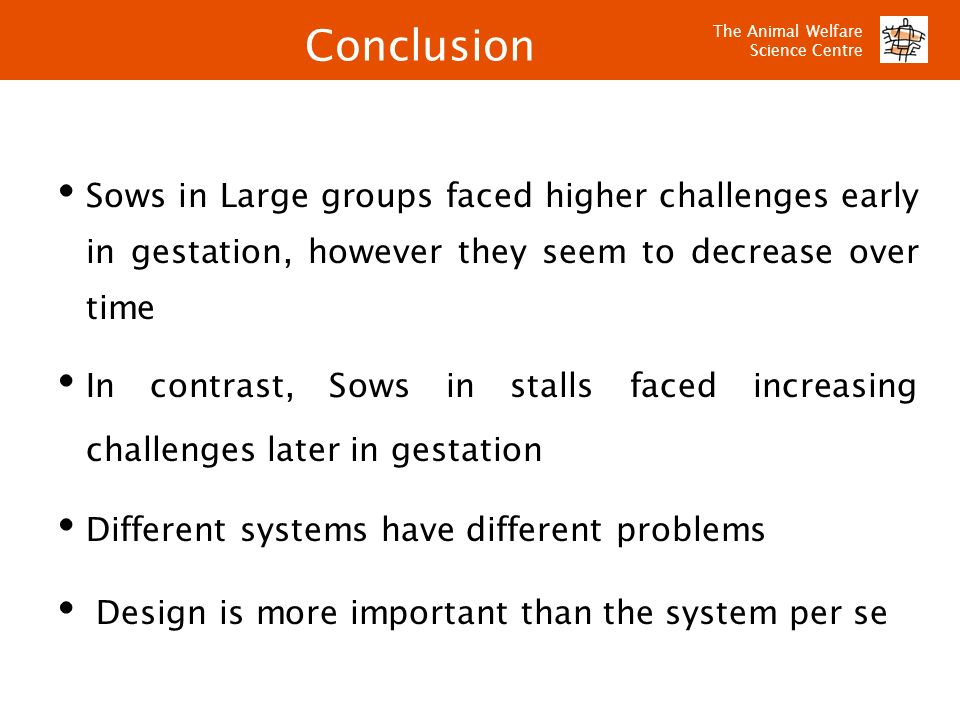 Conclusion Sows in Large groups faced higher challenges early in gestation, however they seem to decrease over time.