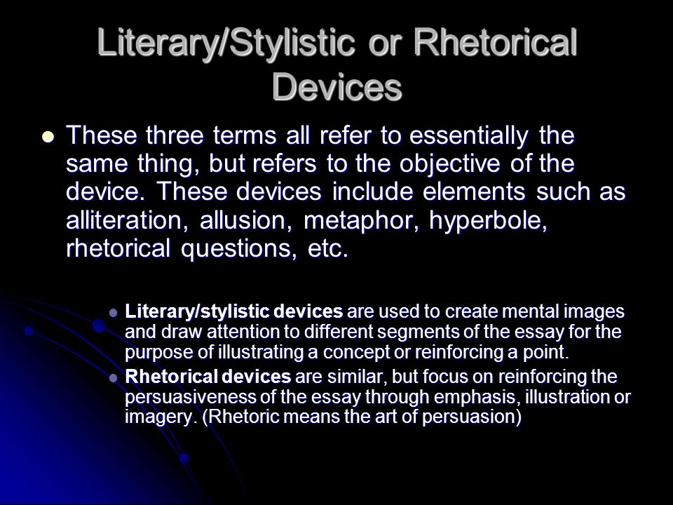 essay analysis unit ppt video online  literary stylistic or rhetorical devices