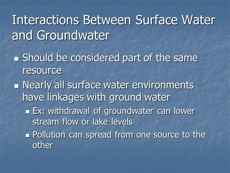 Interactions Between Surface Water and Groundwater