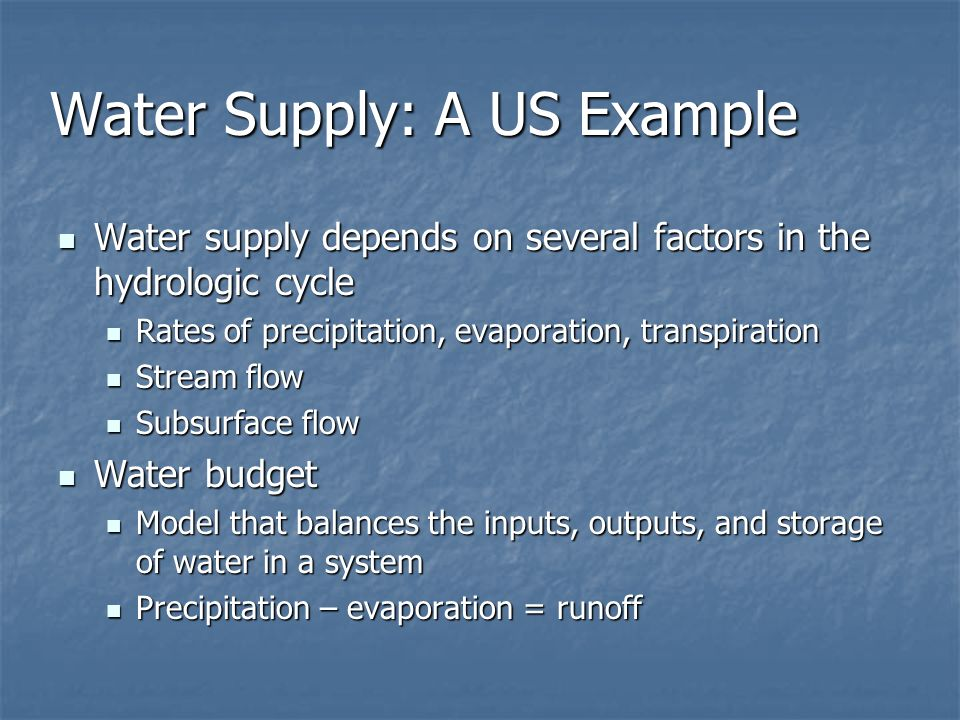 Water Supply: A US Example