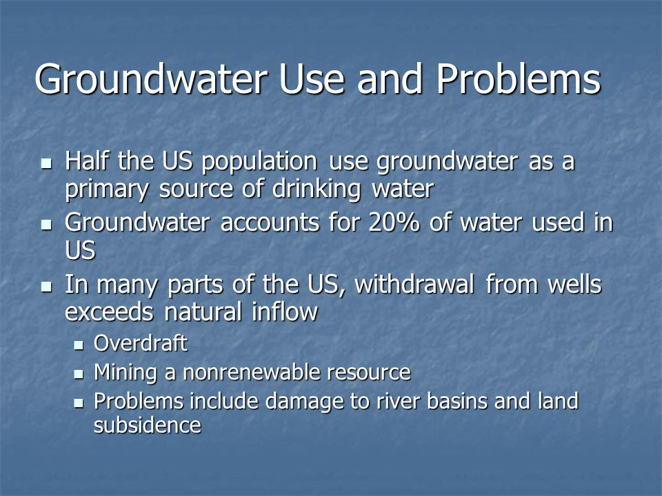 Groundwater Use and Problems