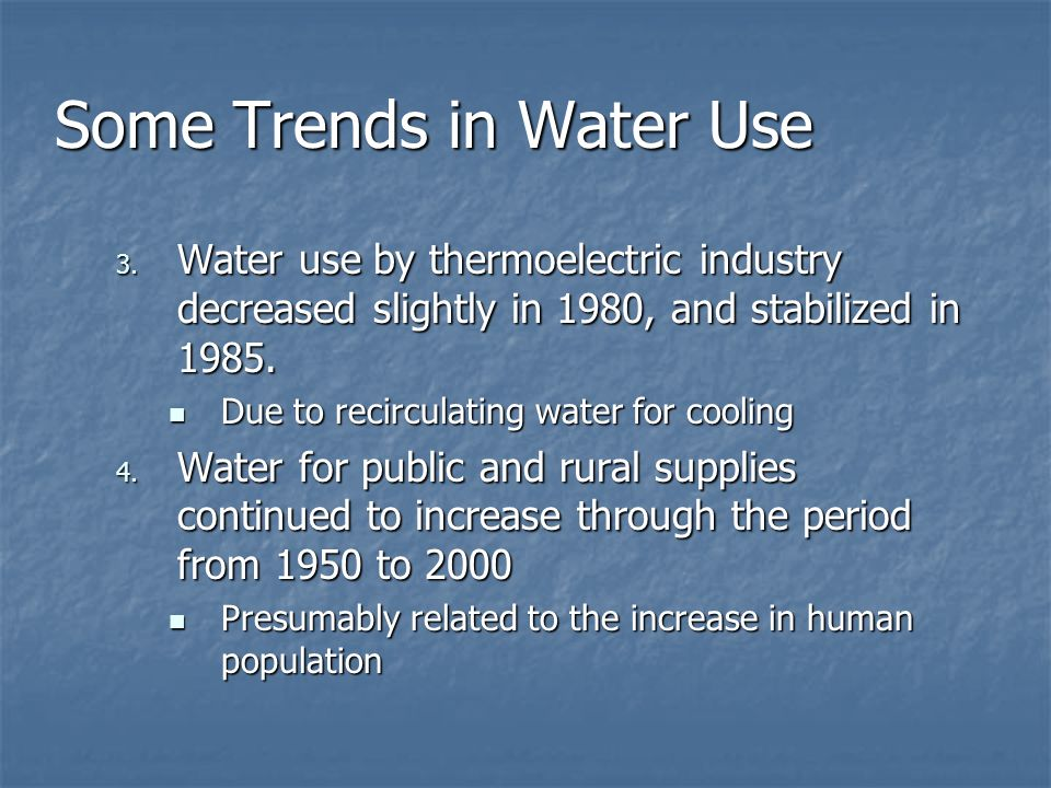 Some Trends in Water Use