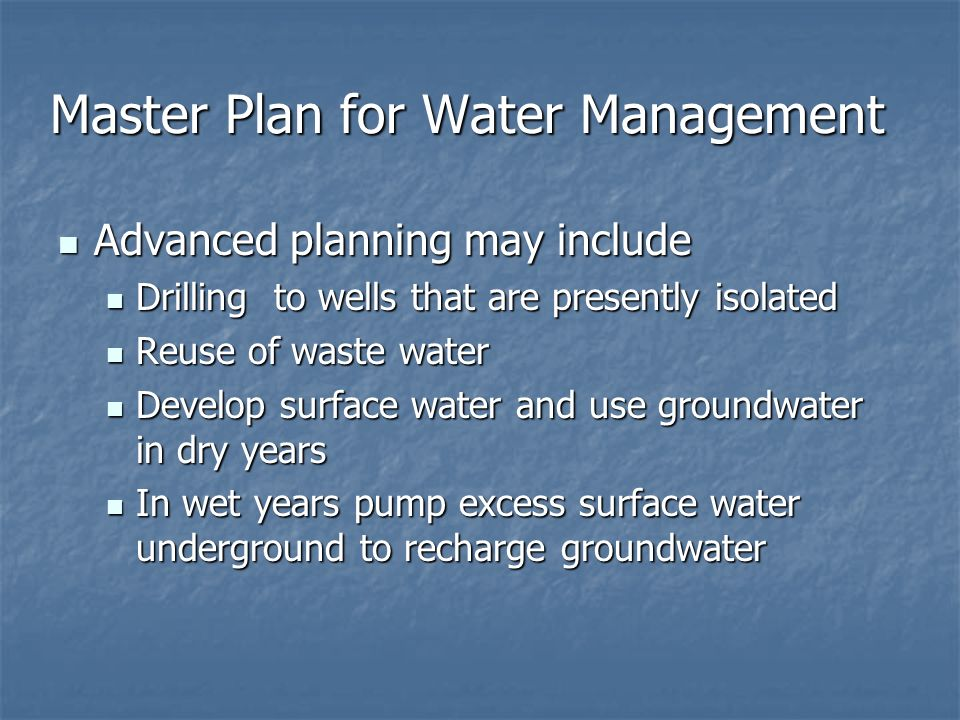 Master Plan for Water Management