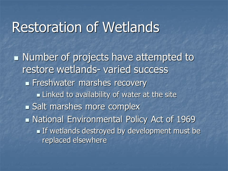 Restoration of Wetlands
