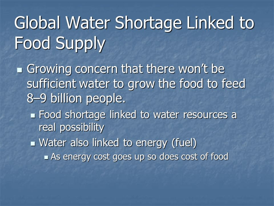 Global Water Shortage Linked to Food Supply