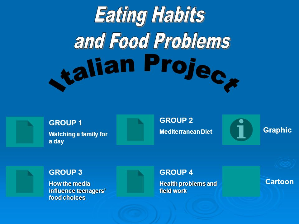 Eating Habits and Food Problems Italian Project GROUP 2 GROUP 1