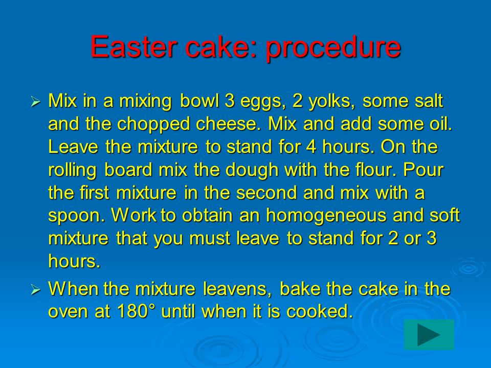 Easter cake: procedure