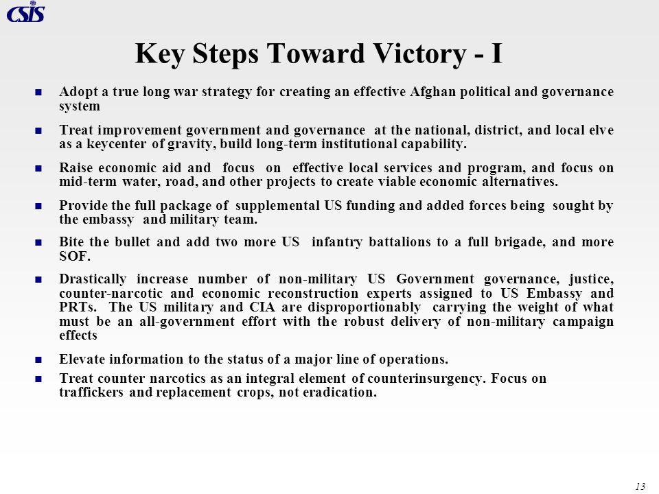 Key Steps Toward Victory - I