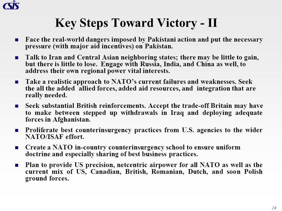 Key Steps Toward Victory - II