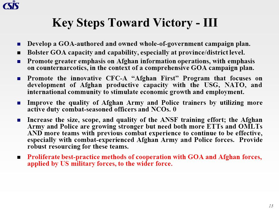 Key Steps Toward Victory - III