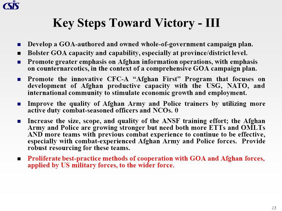 Key Steps Toward Victory - III