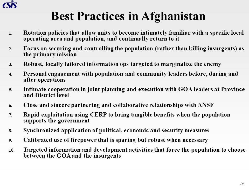 Best Practices in Afghanistan