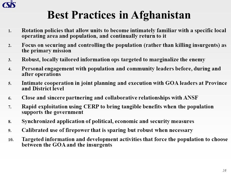 Best Practices in Afghanistan