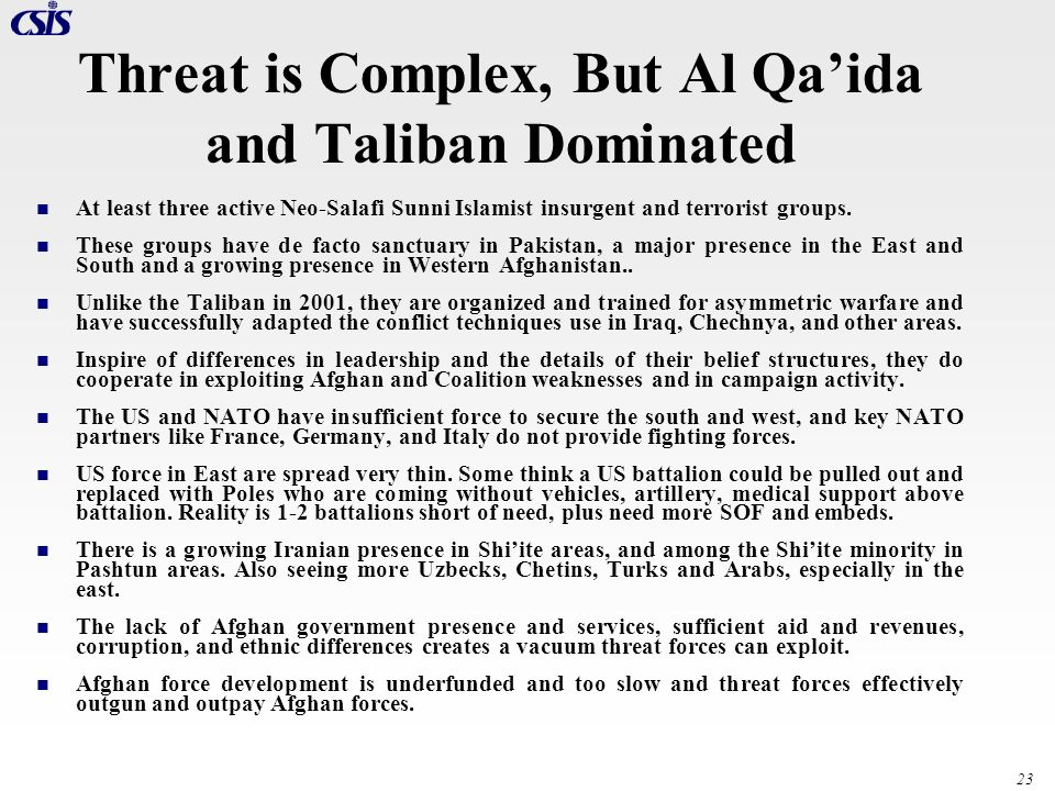 Threat is Complex, But Al Qa'ida and Taliban Dominated