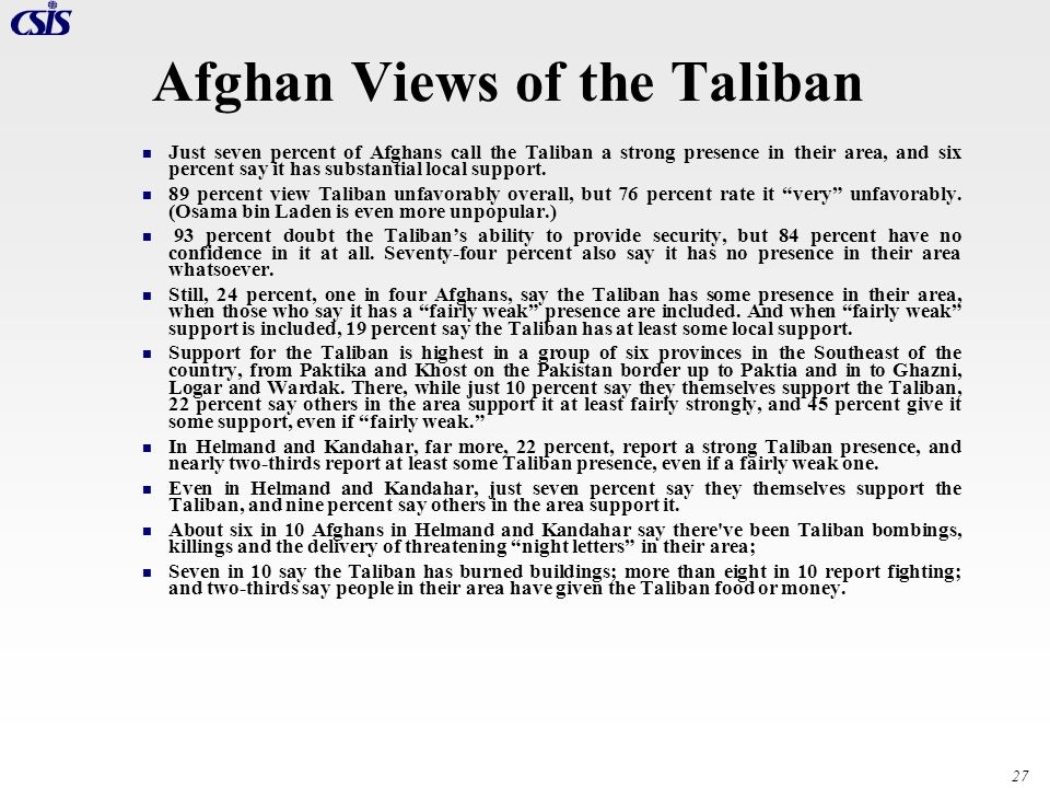 Afghan Views of the Taliban